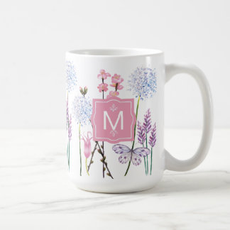 As flores bonito da aguarela personalizaram o caneca de café