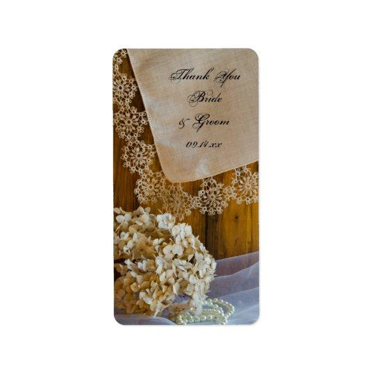 As flores do laço do país que Wedding o obrigado Etiqueta De Endereço