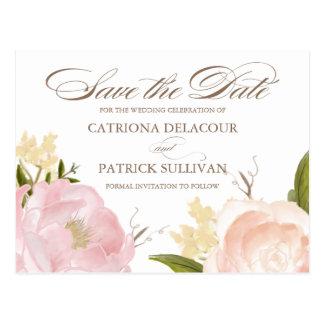 As flores românticas da aguarela salvar o cartão cartão postal