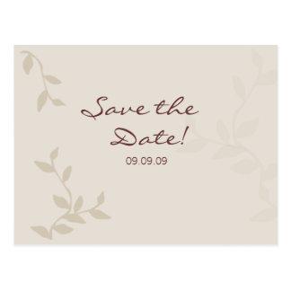 As folhas bege salvar o cartão da data