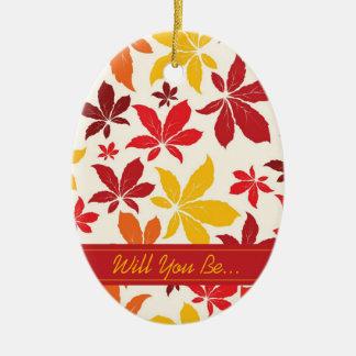 As folhas brilhantes da queda querem-no sejam ornamento de cerâmica oval