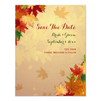 As folhas de bordo de queda salvar o cartão de convite 10.79 x 13.97cm