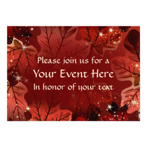 As folhas de bordo vermelhas do outono convidam 1 convite personalizado