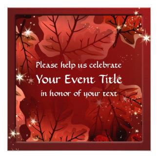As folhas de bordo vermelhas do outono convidam convite personalizados