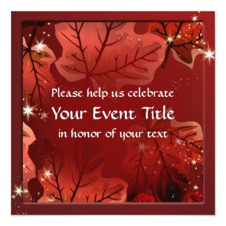 As folhas de bordo vermelhas do outono convidam convite quadrado 13.35 x 13.35cm
