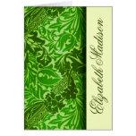 As folhas do verde de William Morris personalizara Cartoes
