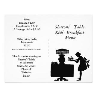 As fontes do restaurante menu do pequeno almoço d panfletos personalizado