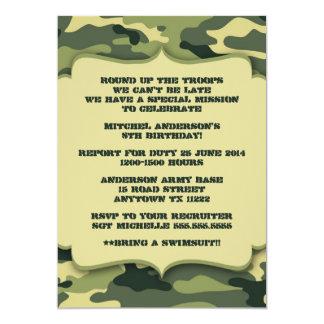 As forças armadas do exército camuflam a festa de convite 12.7 x 17.78cm