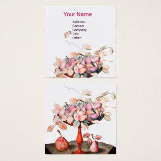 As FRUTAS da ESTAÇÃO, FLORES, branco do rosa das Cartão De Visitas Quadrado