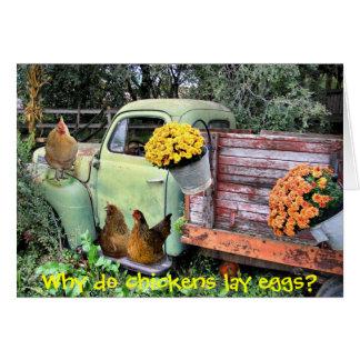As galinhas e velhos pegaram o caminhão cartoes