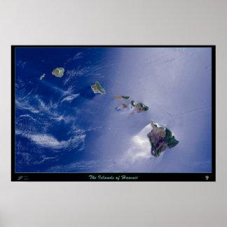 As ilhas do poster do satélite de Havaí