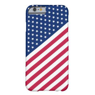 As listras brancas azuis vermelhas dos EUA Stars a Capa Barely There Para iPhone 6