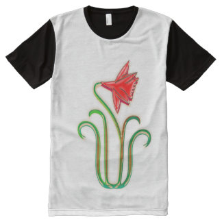 As mais baixas flores elegantes do preço NOVINO Camiseta Com Impressão Frontal Completa