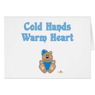 As mãos frias do chapéu azul bonito da neve do urs cartões