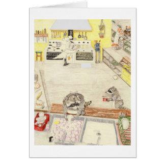 As máquinas de lavar louça ocupadas cartão comemorativo