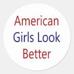 As meninas americanas olham melhor adesivo