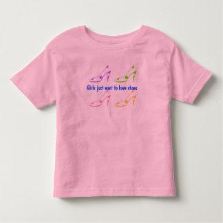 As meninas apenas querem ter calçados camiseta infantil