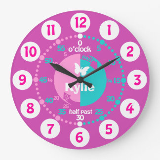 As meninas aprendem dizer a tempo o pulso de relógio de parede