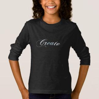 As meninas criam o t-shirt longo da luva camiseta