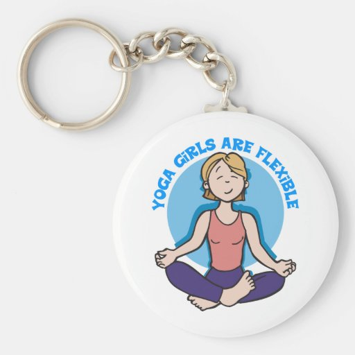 As meninas da ioga são ioga flexível chaveiro