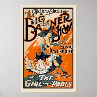 As meninas do poster vintage de Paris Pôster
