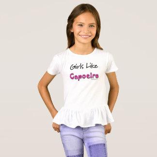 As meninas gostam do t-shirt do plissado de camiseta