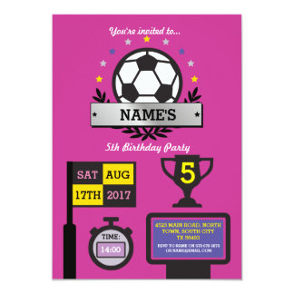 As meninas o aniversário do partido que do futebol convite 12.7 x 17.78cm