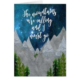 as montanhas estão chamando o cartão da tipografia