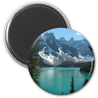 As Montanhas Rochosas - lago moraine Ímã Redondo 5.08cm