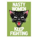 As mulheres desagradáveis mantêm-se lutar o poster impressão de foto
