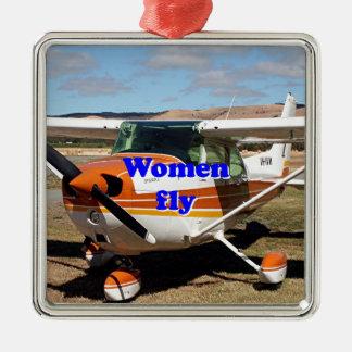 As mulheres voam: aviões altos da asa ornamento de metal