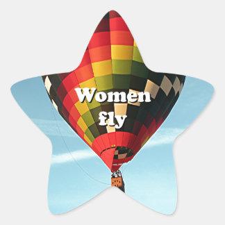 As mulheres voam: balão de ar quente adesivo estrela