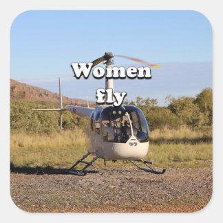 As mulheres voam: Helicóptero 2 (brancos) Adesivo Quadrado