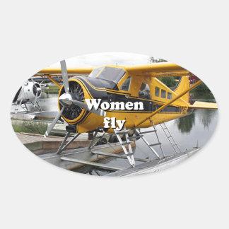 As mulheres voam: plano do flutuador, capa do adesivo oval