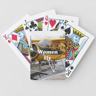 As mulheres voam: plano do flutuador, capa do baralhos de pôquer