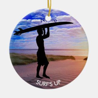 As nuvens da areia do surfista do por do sol ornamento de cerâmica