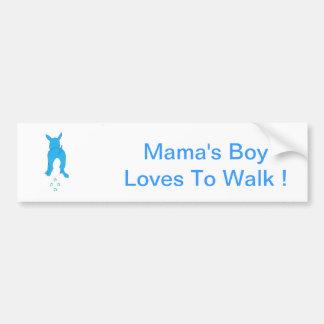 As orelhas de cão azuis levantam o Menino do Mama Adesivos