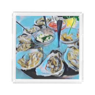 As ostras satisfazem bandeja de acrílico