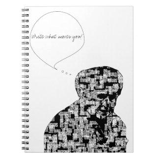 As palavras fazem o caderno | do homem escrever