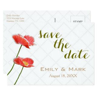 As papoilas vermelhas personalizadas salvar o convite 8.89 x 12.7cm