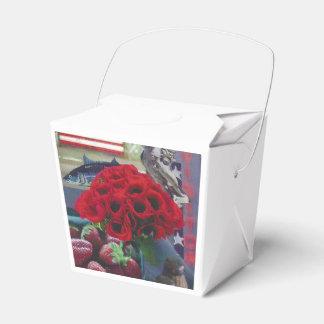 As papoilas vermelhas removem a caixa