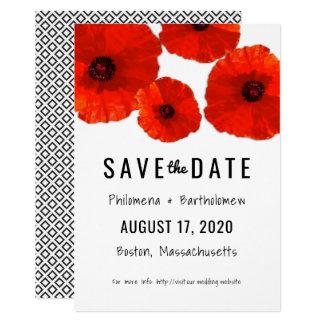 As papoilas vermelhas salvar o anúncio da data