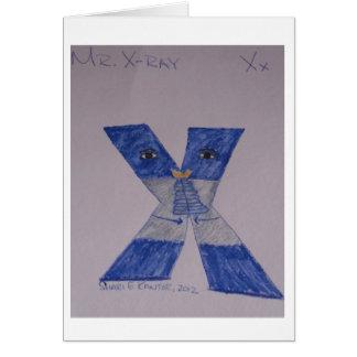 As pessoas do alfabeto, Sr. Raio X obtêm o cartão