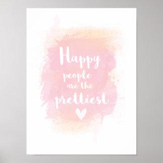 As pessoas felizes são a aguarela a mais bonita pôster