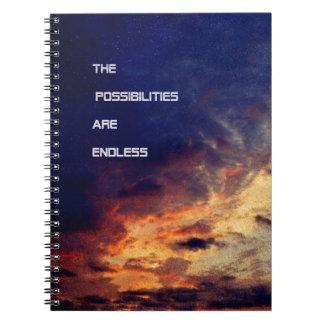 As possibilidades são caderno espiral infinito