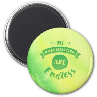 As possibilidades são verde redondo infinito do imã
