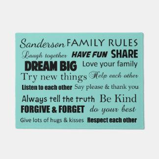 As regras da família do casamento da cerceta tapete