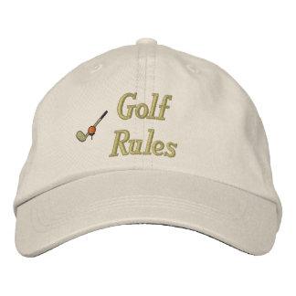 As regras do golfe bordaram o chapéu boné