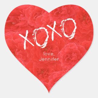 As rosas vermelhas doces XO abraçam e beijam Adesivo Coração