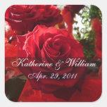 As rosas vermelhas salvar a etiqueta da data adesivos quadrados